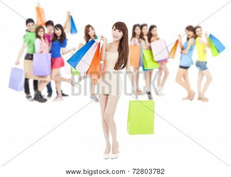 Group of Asian young poeple Holding shopping Bags.