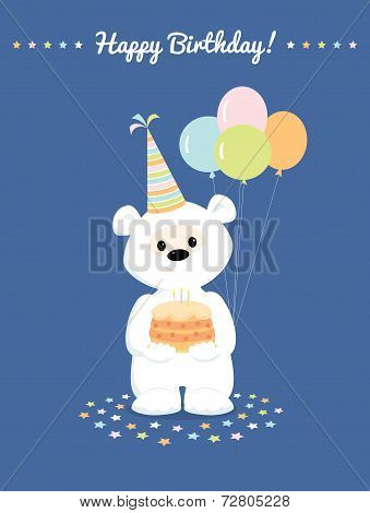 White Teddy Bear With Cake And Baloons