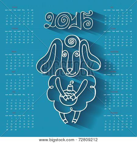 Calendar  Year of Sheep.Cartoon outline sheep