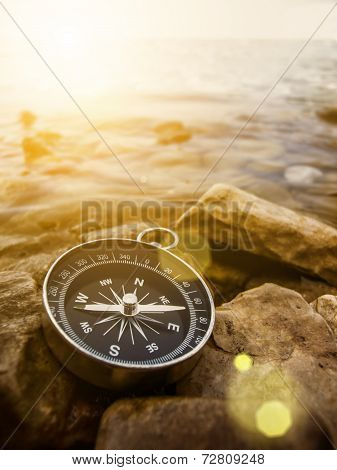 compass on the bank