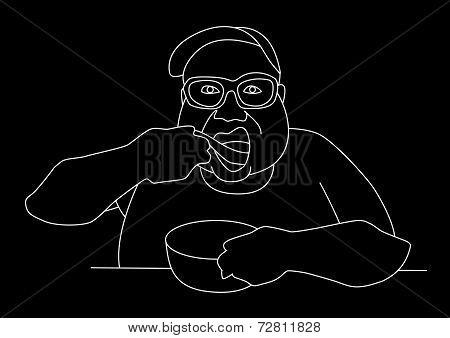 Fatboy Pig Out Line Art