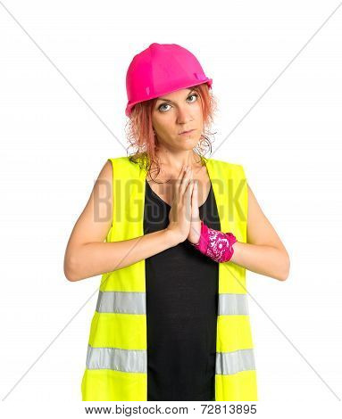 Worker Woman Pleading Over White Background