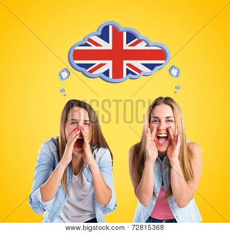 Friends Shouting Over Yellow Background