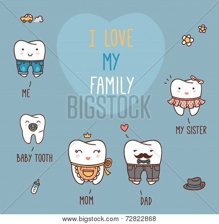 Happy family teeth set. Dental collection for your design.