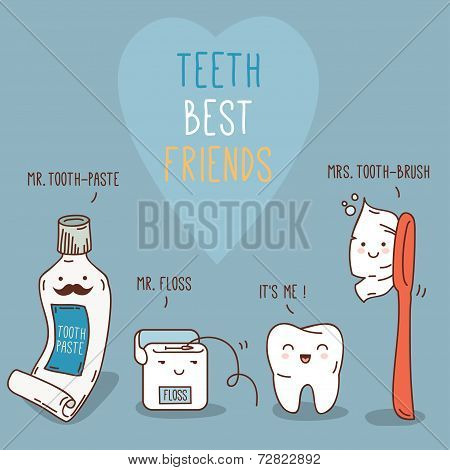 Teeth best friends - tooth past, tooth brush and floss.