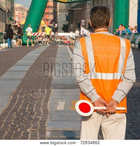 Traffic Warden With Paddle