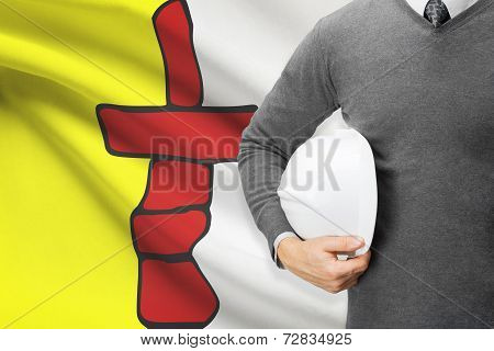 Engineer With Flag On Background Series - Nunavut