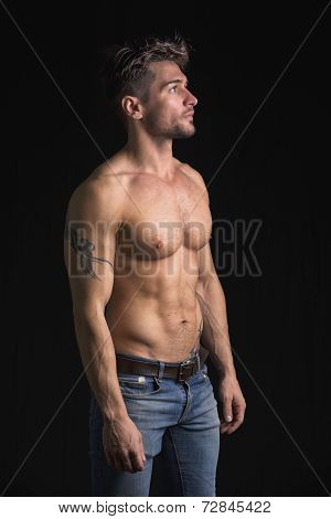Handsome Shirtless Muscular Man On Black