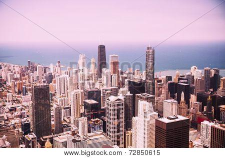 Modern Chicago Skyline Aerial View
