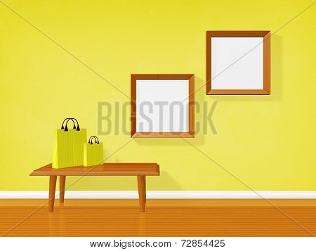 Empty Picture Frames On Wall And Shopping Bags