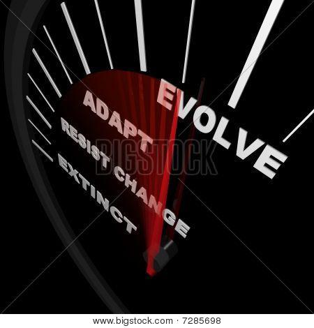 Evolucionar - velocímetro rastrea el progreso del cambio