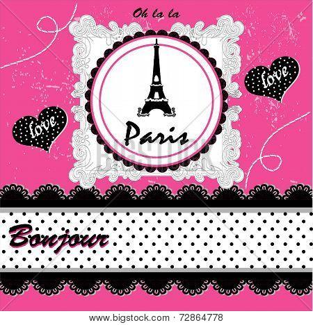 Paris Card. Vector Illustration