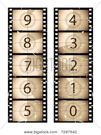 Sepia film strip countdown