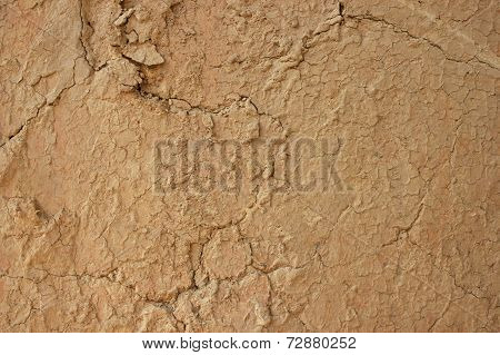 Background texture of mud wall plaster with cracks poster