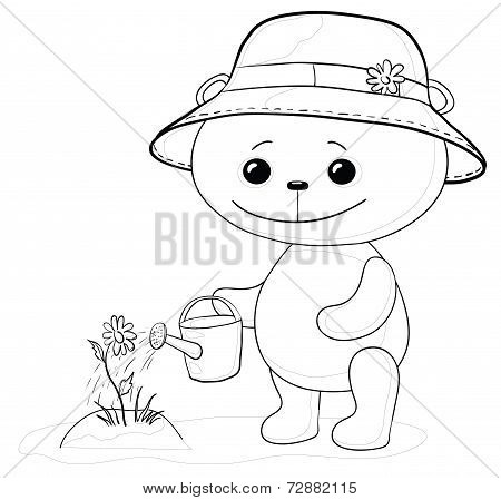 Cartoon, teddy bear gardener waters a bed with a flower from a watering can, contour. Vector poster