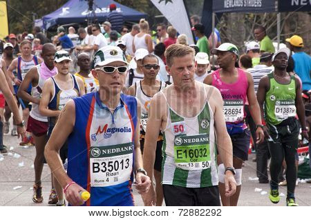Closeup Of Competitors Participating In Comrades Marathon