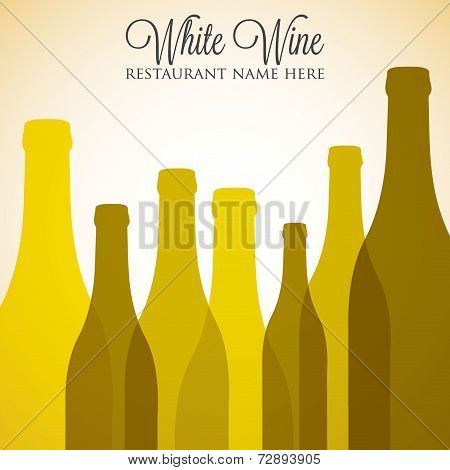 White Wine List Menu Cover In Vector Format. poster