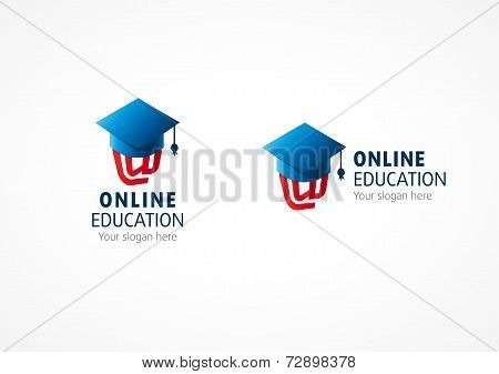 Online high school graduation vector logo. E-mail arroba at symbol under square oxford academic cap. Internet college education sign. Icon of network science debate or global conference, library, academy.