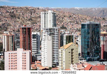 Skyscrapers of La Paz in Bolivia