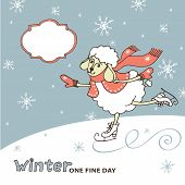 Doodle Sketch in the style of children's hand drawing. Cute sheep girl l Cute sheep girl skates with falling snowflakes. Space for text. Winter Funny animals vector illustration poster