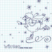 Doodle Sketch in the style of children's hand drawing. Cute sheep girl l Cute sheep girl skates with falling snowflakes.Sketchy notepaper. Space for text. Winter Funny animals vector illustration poster
