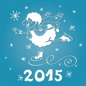 Greeting card.2015 Year of Sheep. Vector Cartoon sheep skate.Snowflakes background.White silhouette. Figures 2015 with snow.Illustration poster