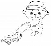 Cartoon, teddy bear lawnmower work with the lawn mower contours. Vector poster
