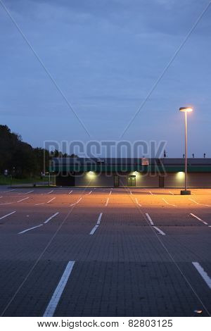 Parking Lot In Evening