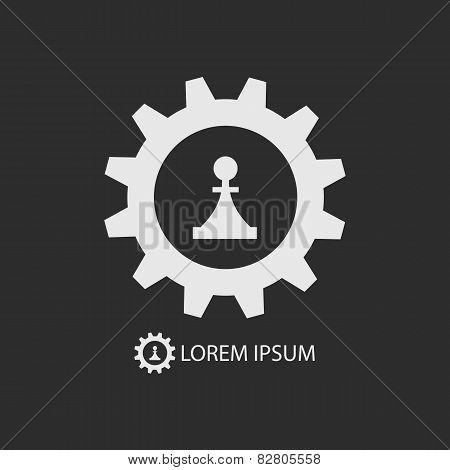 White Gear Wheel And Piece As Logo