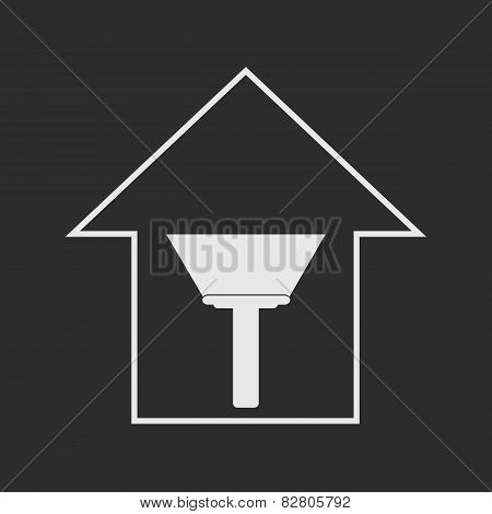 House With Paint Scraper. White On Dark Grey