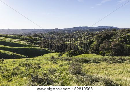View towards West Hills and Woodland Hills in the San Fernando Valley region of Los Angeles, California.