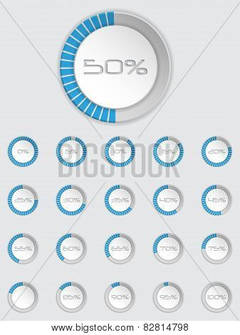 Cool 3D Loader Icon Set In Blue
