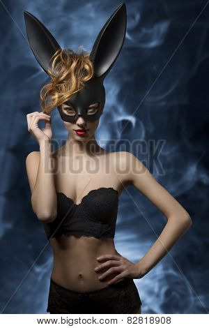 Funny Girl With Sexy Bunny Mask