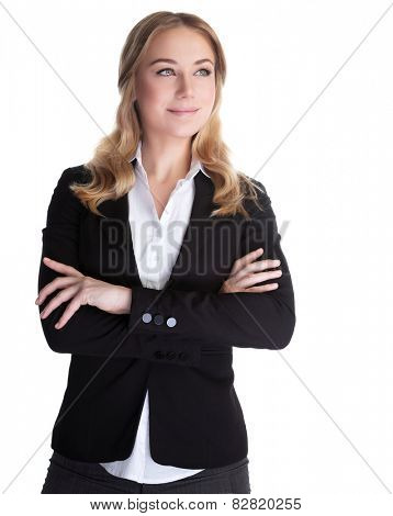 Portrait of beautiful happy business woman isolated on white background, white collar worker, successful career lifestyle poster