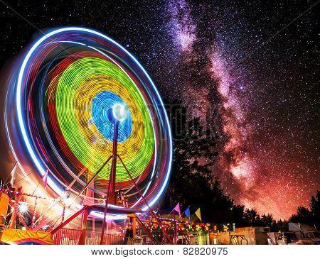 Ferris Wheel Light Motion Under Night Stars