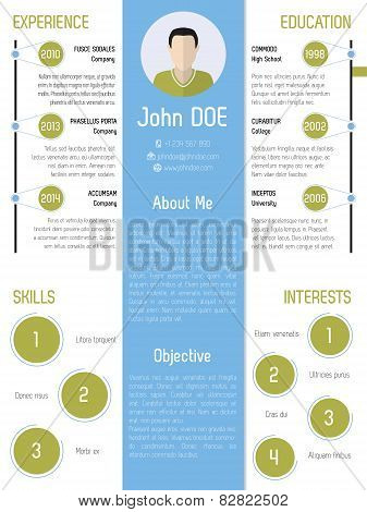 Modern Resume Design In Green And Blue