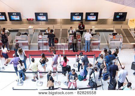 RIO DE JANEIRO, BRAZIL - CIRCA NOV 2014: Passagers at Santos Dumont Airport in Rio de Janeiro, Brazil.