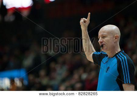VALENCIA, SPAIN - FEBRUARY 11: Referee during Eurocup match between Valencia Basket Club and Lokomotiv Kuban Krasnodar at Fonteta Stadium on February 11, 2014 in Valencia, Spain
