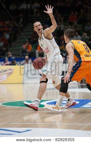 VALENCIA, SPAIN - FEBRUARY 11: Kalnietis with ball during Eurocup match between Valencia Basket Club and Lokomotiv Kuban Krasnodar at Fonteta Stadium on February 11, 2014 in Valencia, Spain