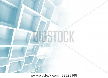Relief Cube Pattern On The Wall And Blank Copy Space