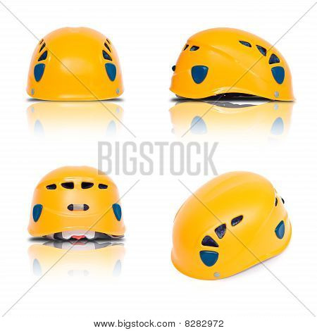 Three View And Axonometry Of Orange Climbing Helmet