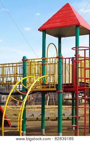 children playground at pubic park in summer season