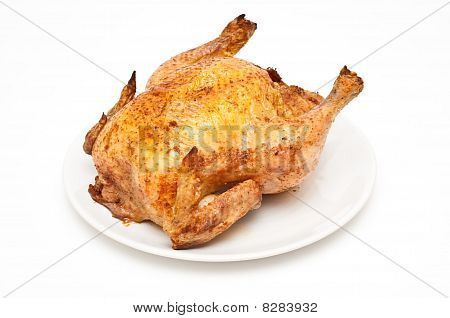Backed/roast Chicken Isolated On White
