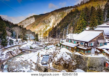 Nagano, Japan valley at Yudanaka and snow monkey park.