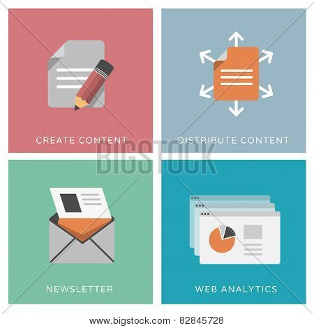 Content distribution, online marketing, web analytics, newsletter - set of flat design icons poster