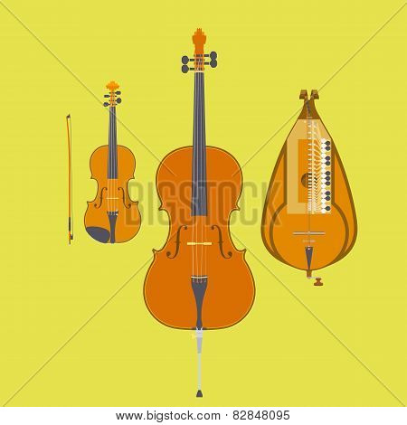 Violin, Violin Bow, Cello and Hurdy-Gurdy