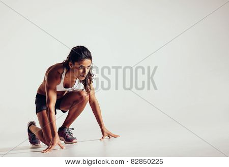 Focused Woman Ready For A Run