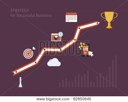 Set of flat design concept icons for strategic planning and strategy for successful business.