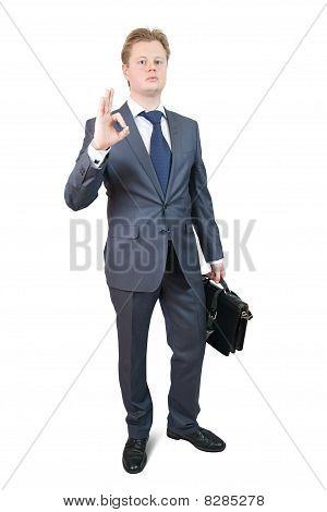 Businessman Singing Ok