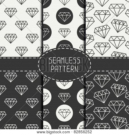 Set of monochrome hipster fashion geometri seamless pattern with diamond. Collection of paper for sc